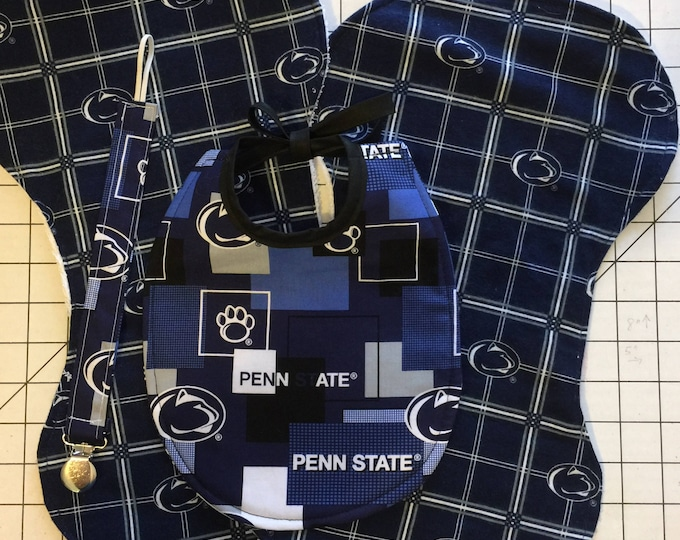 Baby Bib Gift Set, Penn State Inspired Fabric Design, Includes Bib, Burp Cloths and Pacifier Clip