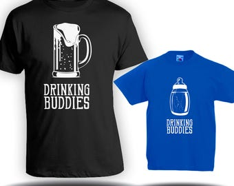 Drinking Buddies Matching t-shirts- Father son matching shirts, Gifts for Him, Gifts for Dad, father's day gift, baby bodysuit CT-1235-1236