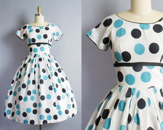 1950s Large Print Polka Dot Dress/ Extra Small (35B/24W)