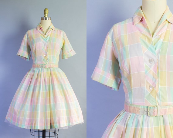 1950s Pastel Plaid Shirtdress | Small (36B/25W)