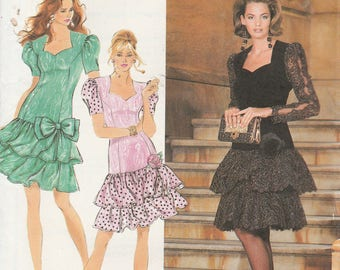 Simplicity 7611 Vintage Pattern Womens Fitted Dress with Princess Seams and Ruffled Bottom Size 16,18,20,22 UNCUT