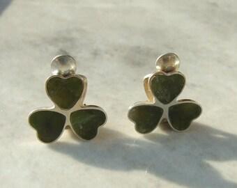 15% SALE - Vintage Silver Connemara Marble Four Leaf Clover Clip On Earrings