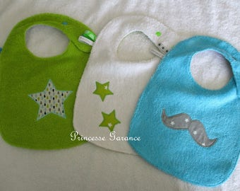 Set of 3 bibs lined with Terry cloth and cotton - funny