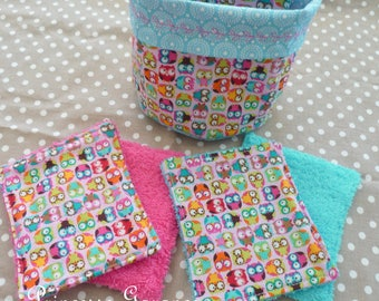 12 wipes washable, cotton, little owls, sponge, matching basket - baby or MOM