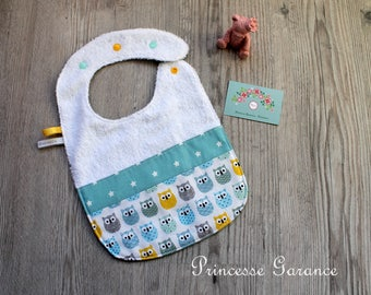 Bib lined in Terry and cotton small owl, blue veso stars - to order