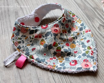 Birth, teething * bandana bib, Liberty of London Mauvey, sponge, in stock