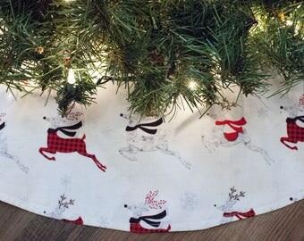 "Christmas Tree Skirt-Reindeer-Snow-Snowflake-Tree Skirt-Christmas Decoration-Holiday Decoration-Christmas Tree-Country Christmas-36"""