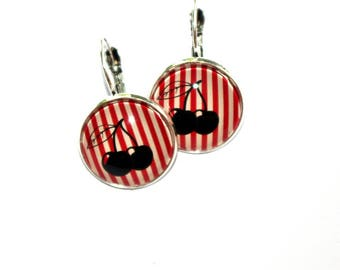 round earrings cherries and lines