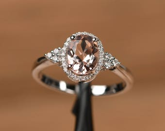 natural morganite ring oval cut promise engagement ring solid sterling silver ring pink gemstone ring romantic gifts
