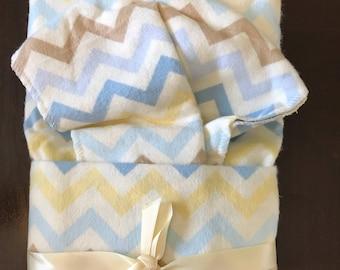 Chevron Oversize Swaddle Blanket and Burp Cloth Set