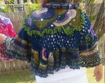 Freeform crochet wrap
