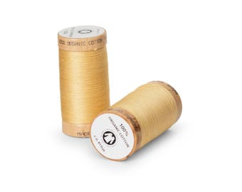 Straw Yellow Organic Cotton Thread 300 yards-  Eco-Friendly Thread - 100% Organic Cotton Thread
