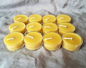 100% beeswax tealights, natural beeswax tea light candles, honey scented candle, no soot candle, gift for teacher, candle lover, bath candle