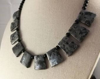 Black And Grey Stone Necklace, Beaded Necklace, Stone Necklace, Fan Necklace.