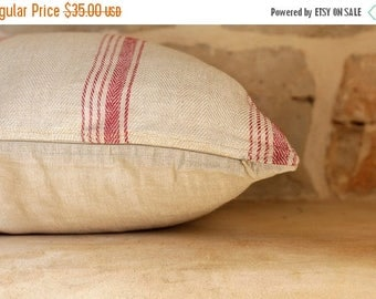 on sale Hand-woven natural beige linen cushion cover with red stripes