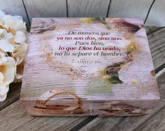 FAST Shipping!! Beautiful Wedding Wooden Box, Spanish Wedding Lasso Box, Wedding Jewelry Box, Keepsake Wedding Box, Wedding Wood Box