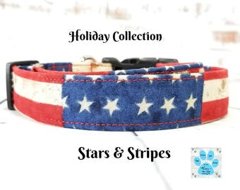 USA Custom Dog Collar, American Flag Dog Collar, Stars and Strips Dog Collar, Patriotic Dog Collar, 4th of July Dog Collar, Flag Dog Collar