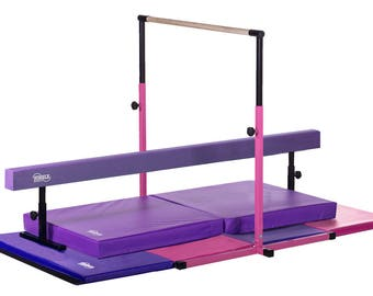 Pink - Purple - Little Gym Deluxe Equipment Set - Gymnastics Bar, Adjustable Balance Beam, 8ft Gymnastics Tumbling Mat, Landing Mat