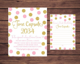 Time Capsule Sign and Card, First Birthday Time Capsule, Baby's Time Capsule Pink and Gold Dots PDF Printable 780