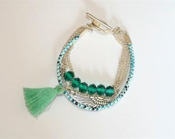 Multi-round silver/green mint/Emerald bracelet, tassel wing and beads