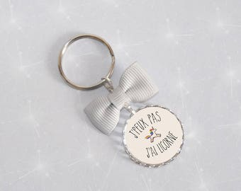 Jewelry bag/key message I can not I have Unicorn gray bow