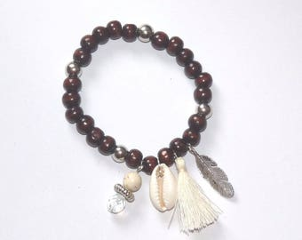 Bracelet beads Brown/silver/natural, silver feather and shell beads
