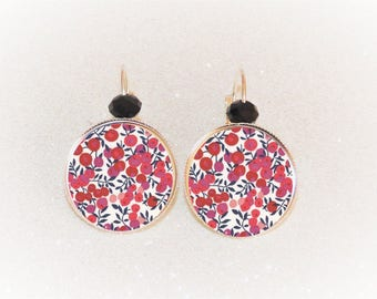 Earrings sleepers silver cabochon Liberty MITSY red and white