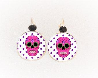 Earrings sleepers silver cabochon Calavera pink polka dots