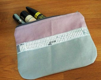 pouch bag pink and gray, silver glitter sequins trim