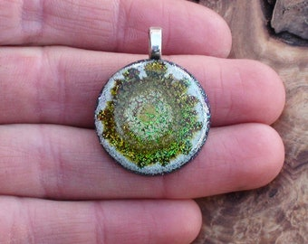 Cosmic Sunburst Abstract Splash Harmonized Crystal Ormus Orgone Energy Unisex Pendant Necklace 25mm Silver Gold Rainbow Sunspot Helios