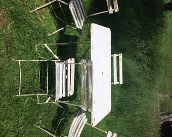Vintage French metal bistro table and chairs