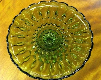 Vintage Green Glass Cake Stand, Anchor Hocking, Fairfield