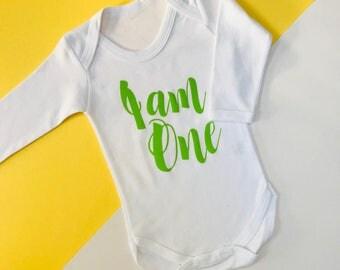 READY TO SHIP: Green I am One Vest Birthday Outfit | 1st Birthday Outfits | Toddler Birthday Outfit 6-12mths