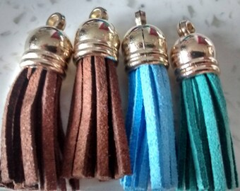 Set of 4 N7 3 6 cm long suede tassels