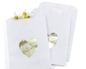 Gold Heart White Paper Rustic Wedding Favor Bags Cake Bags (Pack of 25)