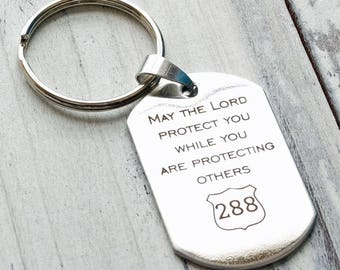 May the Lord Protect You Police Officer - Personalized Custom Engraved Key Chain