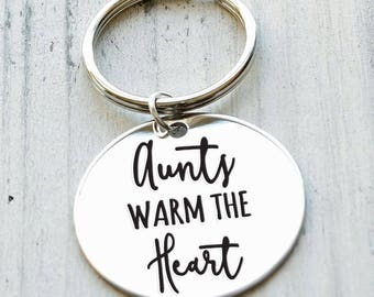 Aunts Warm the Heart Personalized Engraved Key Chain Gift