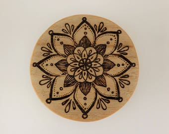 Wooden pyrography hand burned mandala pine jewellery box, gift box, storage