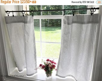 SALE Classic ticking Stripe Cafe curtains. black white stripe valance. stripe grey white valance. Curtain Valance. Window Valance