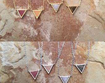 Dainty Triangle Gemstone Necklace