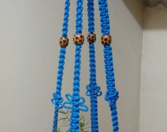 "Blue Polycord Macrame plant Hanger Medium sized 46"" pot hanger hanging planter indoor outdoor  planter Birdfeeder garden accessory"