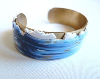 Polymer marine waves Cuff Bracelet, blue, white gold