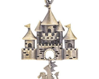 Fairy Tale Castle and Dragon Metal Pendant