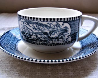 Royal China Currier and Ives Tea Cup and Saucer (Blue)