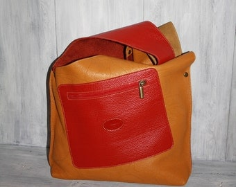 Leather yellow Hobo Bag - red leather bag -  Leather Hobo Handbag - Boho bag