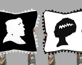 Frankenstein pillow, Halloween Pillow, Halloween Decor, Bride of Frankenstein, Pom Pom Pillow