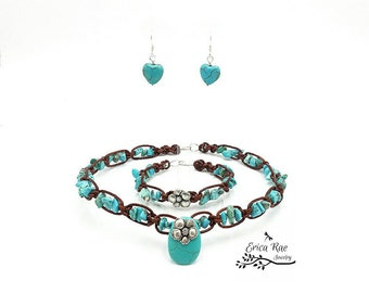 Country western turquoise gemstone chip beaded leather hibiscus flower choker and bracelet with turquoise heart earrings