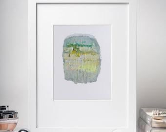8x10'' Original Abstract Oil Painting, Gray, Yellow, Green, Small Painting, Modern oil painting, Modern Expressionism, Abstract Wall Art