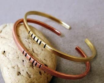 Bracelet for men or women ,Copper, Brass,German silver,Aluminum ,Sterling Silver 925, 14k Gold filled, Bracelet  Anniversary Gift .