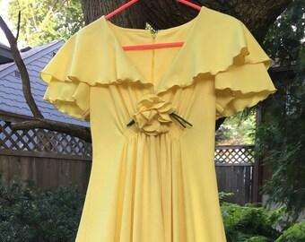 1970s Polyester Formal Maxi Dress Marcia Brady Bunch Style Hippie Boho Vintage Long Dress